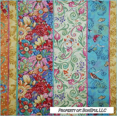 BonEful FABRIC FQ Cotton Quilt Calico Stripe Flower Bird Butterfly Garden Border Garden Cotton Quilt Fabric Border
