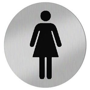 conip wc t rschild toilettenschild damen selbstklebend edelstahl geb rstet 68mm ebay. Black Bedroom Furniture Sets. Home Design Ideas