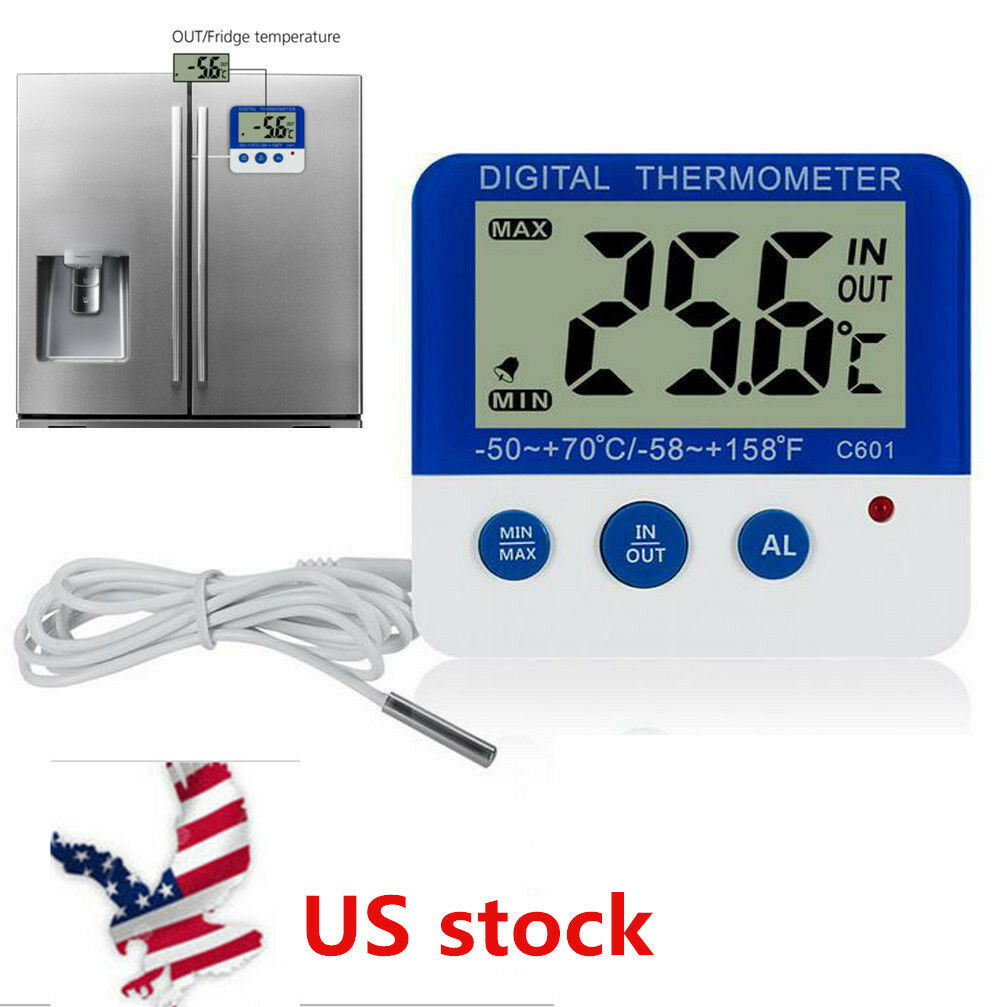 Digital LED Alarm Freezer/Fridge Thermometer Home Magnet and