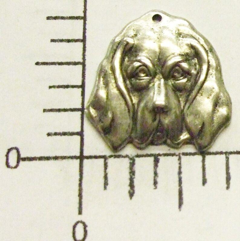40784       12 Pc. Matte Silver Oxidized Dog Head Charm Jewelry Finding  SALE