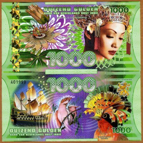 Netherlands East Indies (Indonesia), 1000 Gulden, 2016 Polymer, UNC > Woman