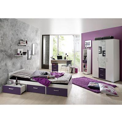 Jugendzimmer komplett Schreibtisch Bett Kinderzimmer Jugendbett  Steffi lila