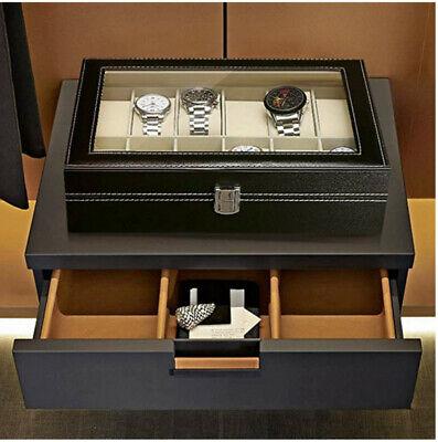 12 Uhrenbox Uhrenkoffer Uhr Aufbewahrungsbox Uhrenkasten Uhrenschatulle Leder DE
