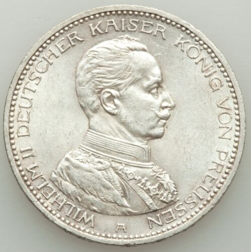 GERMANY / GERMAN STATES  PRUSSIA  1913-A  5 MARK SILVER COIN, UNCIRCULATED