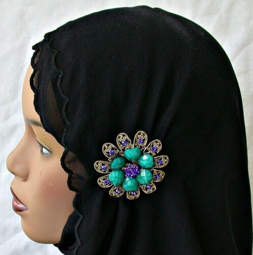 Crystal and Enamel Fashion Hijab Pin Abaya Large Blue Flower Lapel Pin