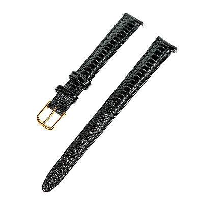 12mm Ladies Black Lizard Grain Padded Leather Watch Band / Watch Strap Ladies Black Band