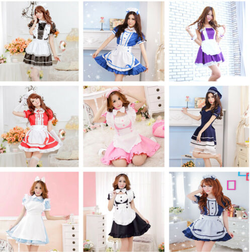 Lot Women Sexy Japanese Maid Dress Waitress Uniform Cosplay