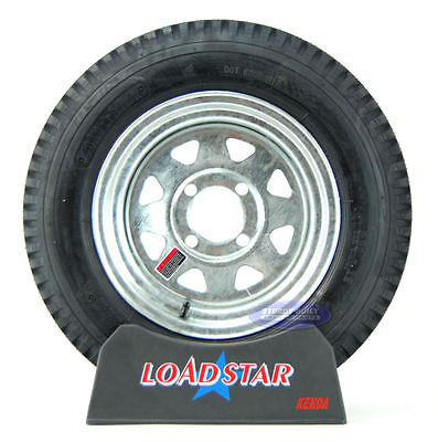 (2) Kenda Loadstar Trailer Tires 5.30x12 on 4 Lug Galvanized Wheel 5.30-12 (Loadstar Tires)