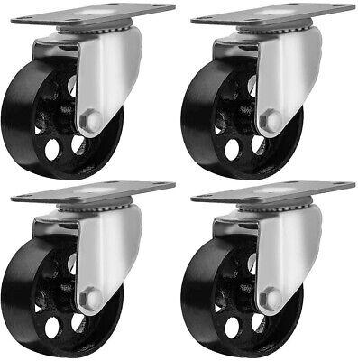 4 Pack Cast Iron Swivel Plate Caster Wheel 3 Dia. 1-14 W. Capacity 1760 Lbs