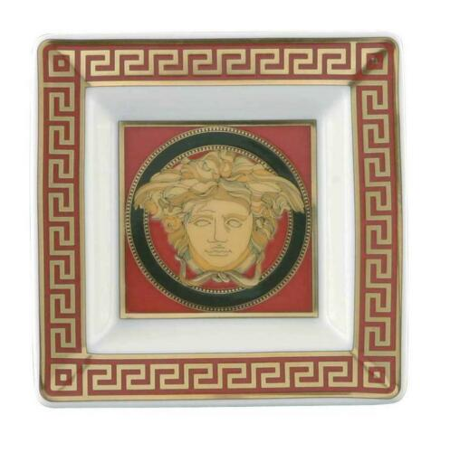 Versace Medusa Red Tray Porcelain 3 1/4 inch Square