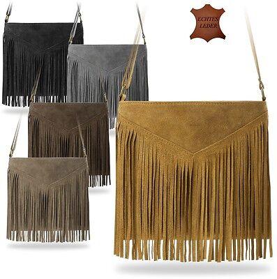 Damen Fransen (stilvolle Damentasche Schultertasche mit Fransen Boho - Style Wildleder !)