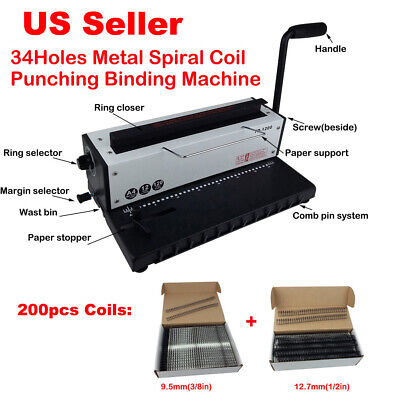 All Steel Metal Spiral Coil 34holes Punching Binding Machine2 Size 200pcs Coils