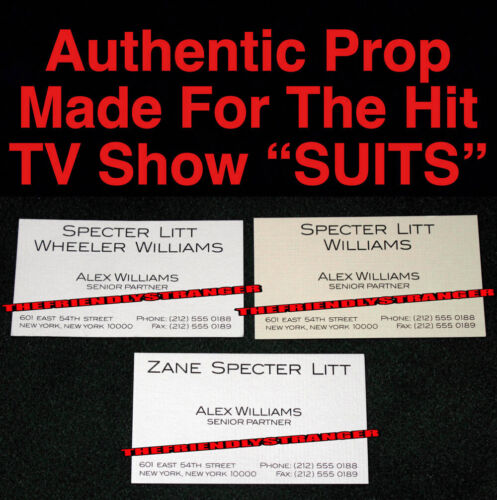 """Lot of 3 ALEX WILLIAMS """"SUITS"""" LAW FIRM PROP BUSINESS CARDS Authentic - RARE"""