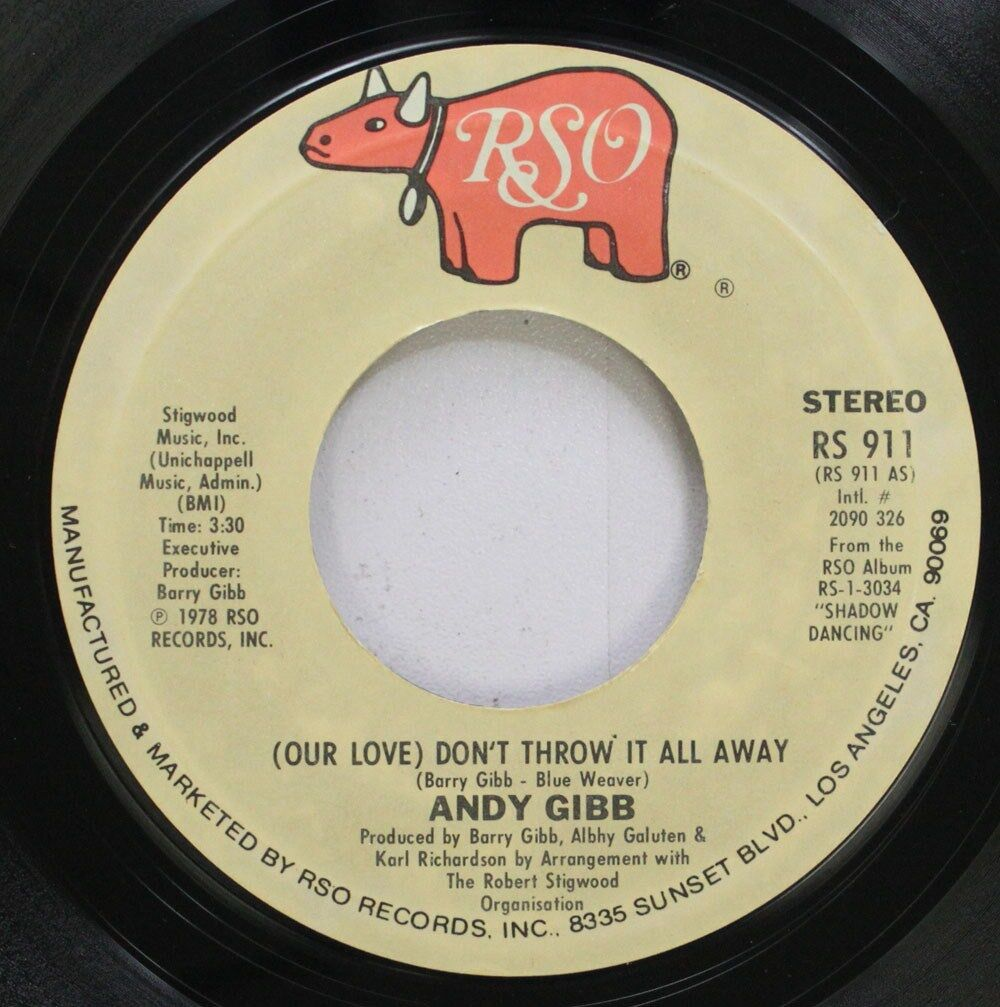 Rock 45 Andy Gibb - (Our Love) Don'T Throw It Away / One More Look ...