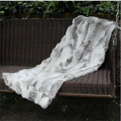 Real Rabbit FUR Throw Blanket Patchwork Skin Fur Rug Pelz Leather Pelt 1.8