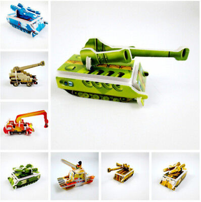 5Set Paper Tank Engineering vehicle 3D Puzzles Jigsaw Toys For Kids DIY Craft LY