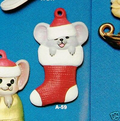 Ceramic Bisque Christmas Ornament Mouse in Stocking Alberta 59 Ready To Paint