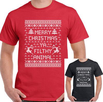 Merry Christmas Ya Filthy Animal Mens Funny T-Shirt Secret Santa Gift Home