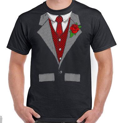 Hirsch Kostüm Shirt (Herren Lustige Smoking T-Shirt Kostüm Anzug Hirsch Doo Hemd & Krawatte)