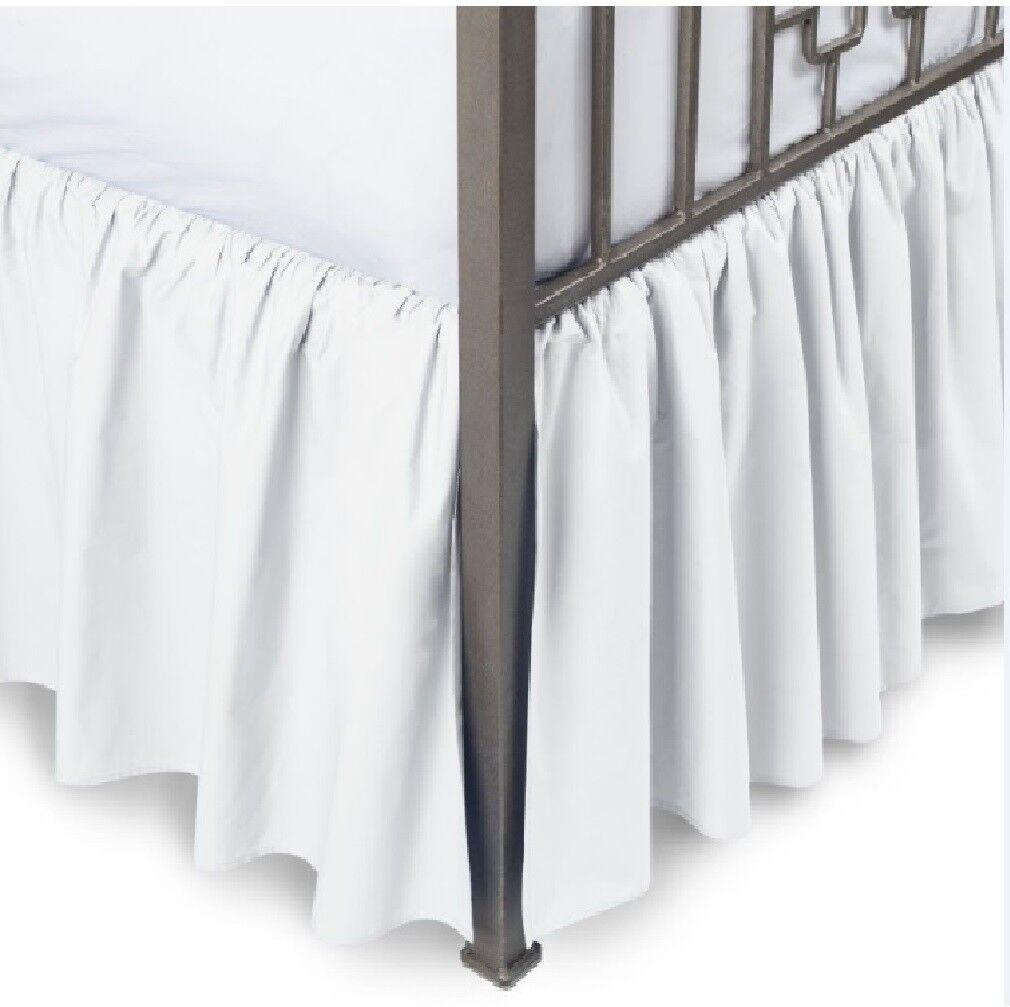 White Solid Dust Ruffle Bed Skirt 400 TC Cotton Split Corner