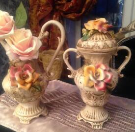 Capo de monte jug vase and urn vase