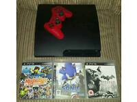 PS3 Slim 160GB Console, Power Cable, 3 Games And 1 Wireless Controller