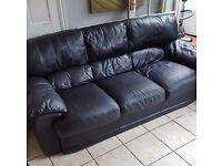 Black leather sofa setee suite