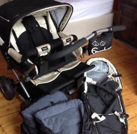 Emmaljunga double pushchair with newborn quadrolift etc