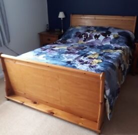 Red Faux Leather Low Level Bed Frame In Biggleswade Bedfordshire