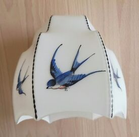 Vintage 1930 ART DECO Swallow/ Blue Bird Opaque Glass Light Shade Hand Painted Antique/ Collectors