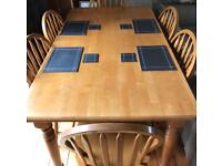 6 seater dining table and 6 chairs for sale