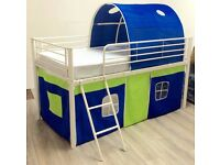 MID SLEEPER CABIN BED TENTS TUNNELS (MATTRESS AVAILABLE) METAL BED