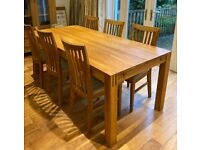 Solid Oak Dining Table & 6 Matching Oak Chairs. From Dekko. Good Condition