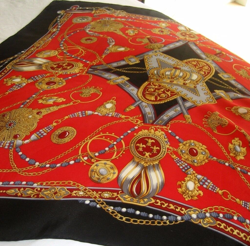VINTAGE Scarf, Perl, Fleur-de-lis, Crown, Sword, Equestrian Style- 100% Silk, Measures 86cm x 86cm