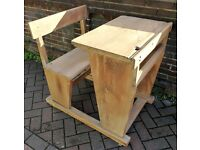 Solid oak vintage school desk