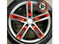 "18"" Genuine Audi S Line alloys refurb anthracite/red good tyres"