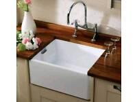 Belfast Ceramic Kitchen Sink 1.0 Bowl White + Waste