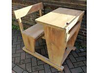 Solid oak vintage school desk