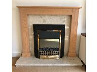 Electric Fire, marble hearth and solid oak surround