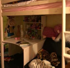 Cutler European Single High Sleeper Loft Bed with Shelf & Desk with orthopaedic mattress