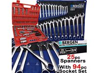 NEW - BERGEN 25pc Combination Spanners With 94pc Socket Set DEEP Sockets Combi Wrench