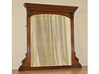 Attractive Antique Victorian Carved Walnut Overmantle Bevelled Arch Top Mirror