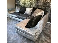 Matching corner sofa and swivel chair, nearly new, excellent condition.