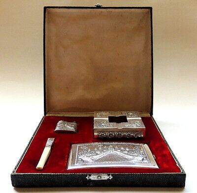 RARE & BOXED Chinese/Asian solid SILVER 900 cigarette CASE & LIGHTE- HOLDER set