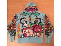 """Brand new vintage Ed Hardy """"True Love"""" Large sky blue hoodie. Screen printed design"""