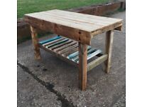 Handmade Rustic Reclaimed Kitchen Island Breakfast Bar Table Oiled