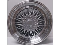 """18"""" BBS RS STYLE ALLOY WHEELS FOR BMW X1 X3 X5 X6 HYPER SILVER SET OF 4 AUDI A3 S3 A4 A6 R8 MERCEDES"""