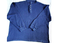 Great Northwest Clothing Co dk denim blue, 100% cotton, long sleeve round neck 'grandad' top. Size L