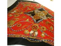 VINTAGE 100% SILK Scarf, Pearl, French Fleur-de-lis, Crown, Sword, Jewel - Excellent Condition