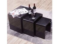 MODERN DESIGN BLACK HIGH GLOSS NEST OF 3 COFFEE TABLE/SIDE TABLE LIVING ROOM
